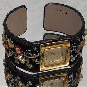 Avon Jewelry - BLACK GOLD TONE EMBROIDERED WATCH BRACELET